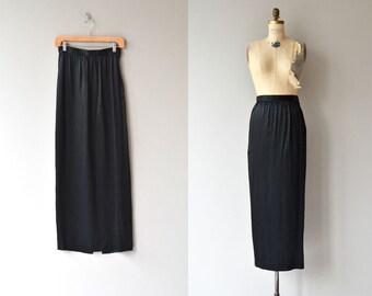 Oleg Cassini silk skirt | silk maxi skirt | long black skirt
