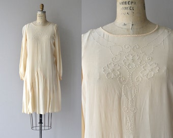Ghost Trefoil dress | vintage 1920s silk dress | long sleeve cream 20s dress