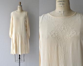 Ghost Trefoil dress | vintage 1920s silk dress | long sleeve cream 20s dress