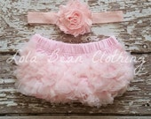 Pink Baby Bloomers Headband Set Take Home Outfit Newborn Photography Prop Cake Smash 1st Birthday Outfit