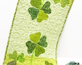 "table runner for St. Patrick's Day- appliqued shamrocks and four-leaf clovers, green, ""In the garden of Lucky"" Ships free to USA"