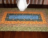 Quilted Table Runner, 23x39 Inches, Earth Tone Colors, Handmade, Dining Table Decor, Table Topper, Machine Quilted