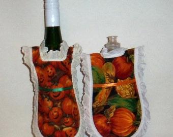 Dish Soap Apron, Handmade, Autumn Fall, Pumpkin, Wine Bottle, Detergent Cover, Kitchen Decor, Eyelet Lace