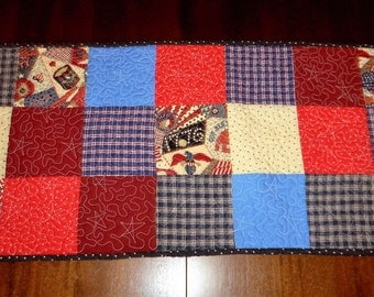 Quilted Table Runner,  Americana, Patriotic, Quilted Table Topper,  Sale Priced, Table Decor, 16x37 inches, Machine Quilted