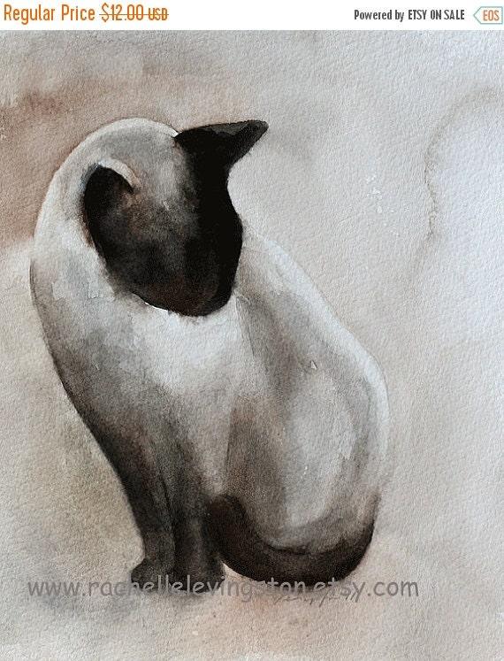 cat print of cat halloween decor Black Cat decor black cat art PRINT 5x7 Halloween art print wall Siamese watercolor painting Kitten dp