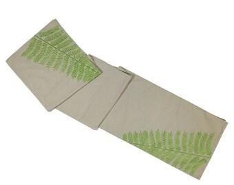 Fern Table Runner, Natural Linen Green Fern Embroidery, Embroidered Table linen, Long Table Runner, Custom Wedding table runner