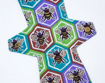 """Radical Rags 14"""" Super Cotton Topped Cloth Pad, The Bees Knees, Overnight, Post Partum Reuseable Mamma Cloth"""