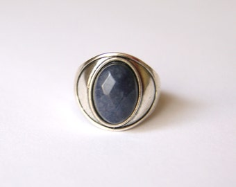 Blue Ring, Blue Stone Ring, Antique Silver Ring, Gothic Ring, Blue Jewellery, Quartizite Ring, Ring UK, Size P, Size 8