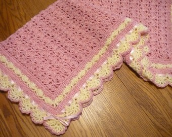 Crochet Baby Blanket Pink with Ivory Lace Trim Christening Blanket Heirloom Lace Victorian Style Blanket - Pink Ribbon  - READY TO SHIP