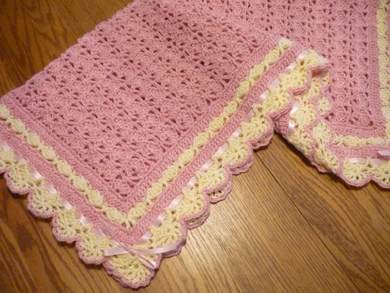 Crochet Baby Blanket Pink with Ivory Lace Trim Christening