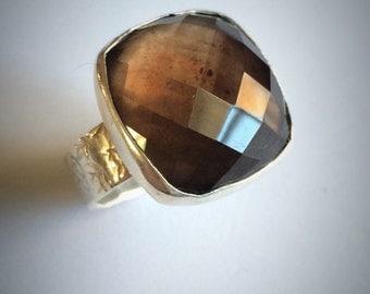 smokey quartz ring sterling silver