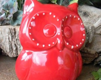 Ceramic  Owl.  Nursery decoration baby or childs room decor garden statue Red punch  cm