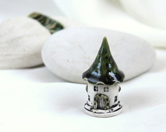 Green olive Romantic house of tiny fairies -- Hand Made Ceramic Eco-Friendly Home Decor by studio Vishnya