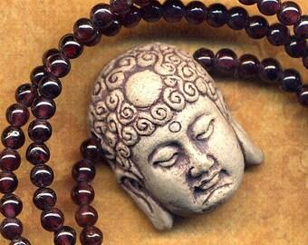 ON SALE Buddha Pendant Necklace, Short Garnet Buddha Necklace, Buddhist Necklace, Yoga Genuine Garnet Buddhist Necklace, Jewelry by AnnaArt7