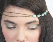 CLEARANCE SALE Chain Headpiece Headband  Hair PieceBohemian  Hipster Boho Hippie Bronze Turquoise Bridal Statement Jewelry FPCOHPNatalia2