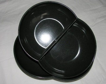 Pair Mid Century Modern Branchell Melmac Melamine Charcoal Grey Serving Bowls Moderne 1950's
