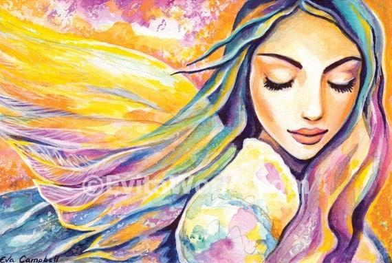 fairy art divine feminine healing art good gift ideas for girl room wall decor affordable art gifts, angel art Signed print, 4x6 7x10.5