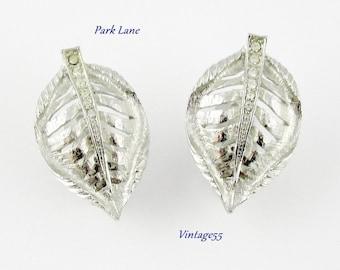 Earrings Park Lane Leaf Rhinestone Clip On