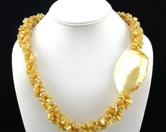 """Vintage Necklace MOP Shell Torsade 22"""" Summer"""