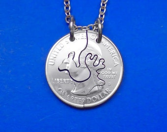 Buck And Doe Necklace, Buck And Doe Pendant, Couples Gift, Deer Necklace, couples necklaces, Interlocking Coin, Couples Jewelry, Keychain