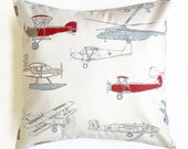 Euro Sham - Large Pillow Cover - Vintage Air Pewter Natural -  Airplane, Plane Blue Red Premier Prints - Available in 22x22, 24x24, 26x26