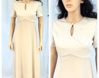 Vintage Beige Evening Dress. Long Maxi Dress. Gown. Liz Claiborne Petites. Size 4. Small. Short Sleeve. 1980s. Wedding. Formal. Beaded.