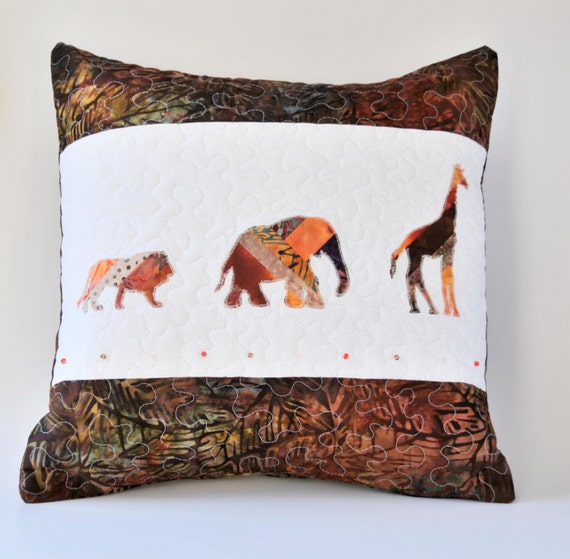 Zoo Animal Pillows : Lion pillow Elephant pillow Giraffe pillow zoo by KnKDesigns