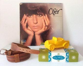 vintage brown belt // genuine leather // 1980's Anne Klein lion accents