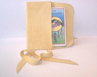 Leather Tarot Bag....Cream....Suede