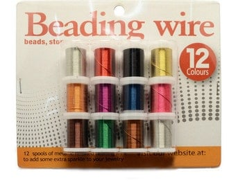 Beading Wire Mix - 12 Spools - 26 gauge wire/.40mm