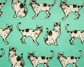 Animal Print Fabric By The Yard - Black and White Cats on Mint Green - Cotton Fabric - Fat Quarter