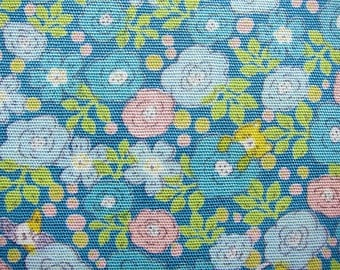 Animal Print Fabric - Roses and Cats in Blue - Floral Fabric - Half Yard