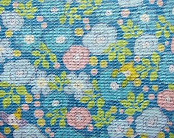 Animal Print Fabric - Roses and Cats in Blue - Floral Fabric - Fat Quarter