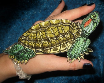 Red-Eared Red Eared Slider Terrapin Turtle Iron on Patch
