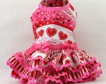 harness dog dress, dog dress, Valentine Party dog dress, Wavy Hearts
