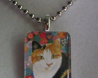 Pretty Calico Cat Glass Pendant Necklace - Lesley Anne Ivory Art
