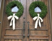 24 Inch Faux Boxwood Wedding Door Wreaths Set of Two