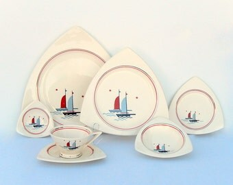 "Atomic Art Deco Extended Dinnerware Service for 4: Salem Tricorne & Streamline ""Sailing Ships"" Sailboats Pattern, Moderne Nautical Glam"