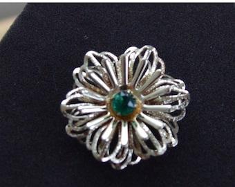 On sale Pretty Vintage Emerald Green Rhinestone, Gold tone Brooch, Pin (J5)