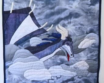 Storm Dragon Wall Hanging, Dragon Quilt