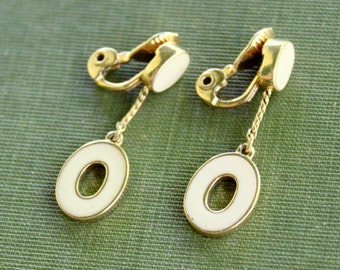 MONET Earrings Signed Gold Tone White Dangle Vintage