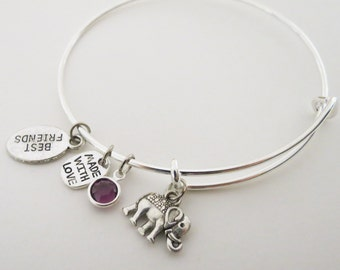 Elephant Adjustable Bangle with Birthstone Charm, Best Friends Gift Idea, Charm Stacking Bangle, Antique Silver Lucky Bracelet