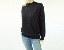 Black 1980s Sweater, VintageTurtleneck, Basic Black Sweater, Super Soft Sweater, Mock Turtleneck, Medium