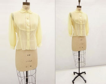 Sheer Nylon Blouse 50s Vintage Blouse Vintage Yellow Top 1950s Sheer Blouse 50s Yellow Blouse Jeweled Button m / l