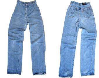 LEVIS 70s High Waist Blue Jeans City Side Western Wear Levis Boho Denim Wide Straight Leg Mom Jeans Hippie Vintage 1970s Bohemian Womens XS