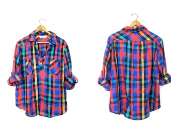 80s checkered shirt Colorful loose fit button up Madras Shirt Vintage Pullover Preppy Camp shirt Womens Henley Shirt DELLS Small Medium