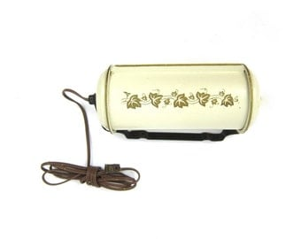 Vintage Art Deco Bullet Torpedo Headboard Reading Light for Your Bed White with Gold Leaves Mid Century Night Lighting Decor