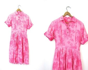 Pink Floral Dress 50s House Day Dress Short Sleeve Cotton Shirt Dress Flower Print Boho Preppy 1950s Spring Summer Dress Vintage SMALL