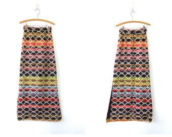 Long Colorful Maxi Skirt Hipster Festivall Skirt 1960s High Waisted Preppy Retro Vintage Grunge Women's Hippie Knit Size Small 7 8