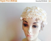 CYBER MONDAY SALE 1970s Vintage Cream Knit Disco Sequins Beret Turban Hat